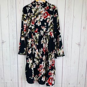 LuLu's Floral Dress WithBell Sleeves Shift Dress